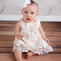 Cream Vintage Lace Swing Back Top & Bloomer Set - Baby