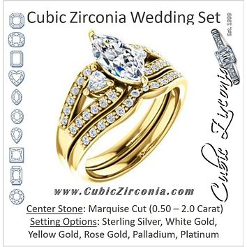 CZ Wedding Set, featuring The Karen engagement ring (Customizable Enhanced 3-stone Design with Marquise Cut Center, Dual Trillion Accents and Wide Pavé-Split Band)