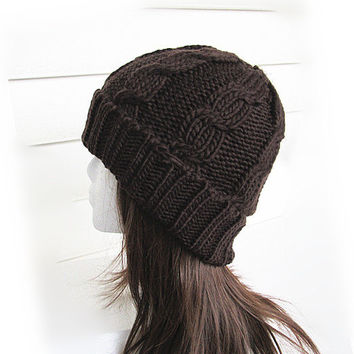 Chunky Knit Hat- Women's Hat -Chocolate Cable Knit Hat - Chunky Knit- Watchman Hat.