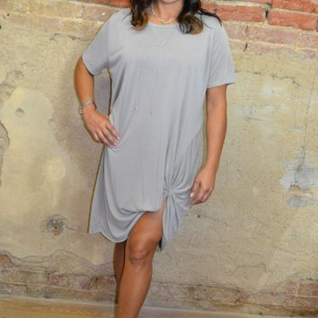 With a Twist Taupe Dress