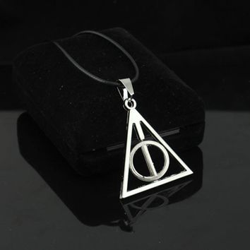 Harry Potter Deathly Hallows Rotatable Triangle Circle Pendant