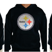 Steelers Glittery Unisex Hoodie , super shinny  sparkle wont flake Pennsylvania Pittsburgh Women  will love it!! S-5XL sizes
