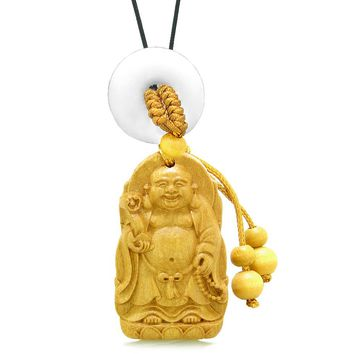 Laughing Buddha Blooming Lotus Car Charm Home Decor White Quartz Coin Donut Protection Power Amulet