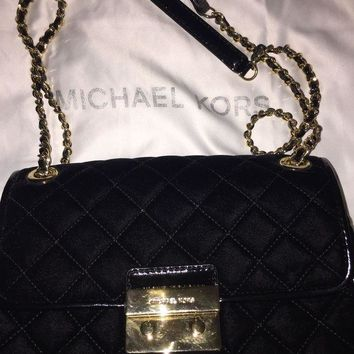 ICIKW7H Michael Kors MK Sloan Large Quilted Suede Chain Shoulder Bag BLACK ❤️$275❤️