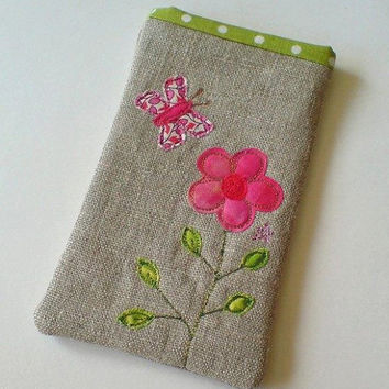 Phone case, iPhone 5 case or glasses case, embroidered pink flower and butterfly design on natural linen, with green spotty fabric lining