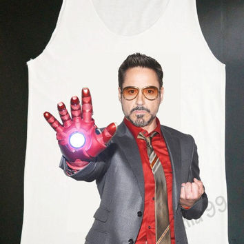 Robert Downey Jr Shirt Movie Shirt Actor Shirt Iron Man Tank Top Women Tank Top White Shirt Tunic Top Vest Sleeveless Women T-Shirt (S,M,L)