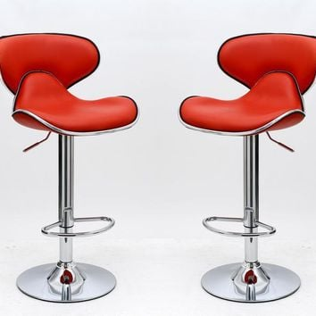 Classy Pablo Barstool with Comfortable Seat Back in Red-Set of 2