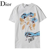Dior New fashion letter floral print couple top t-shirt White