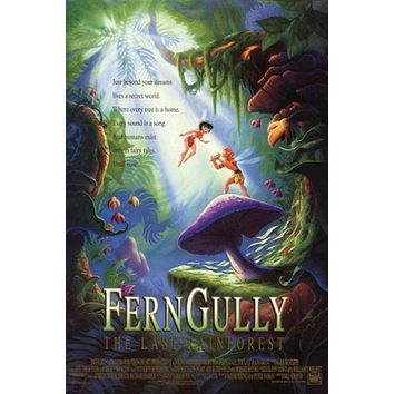FERN GULLY cartoon rainforest MOVIE poster COLORFUL CREATURES 24X36 fantasy