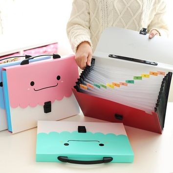 New smiley thick A4 test paper bag multi - layer file package information package organ bag multi - cell classification bag