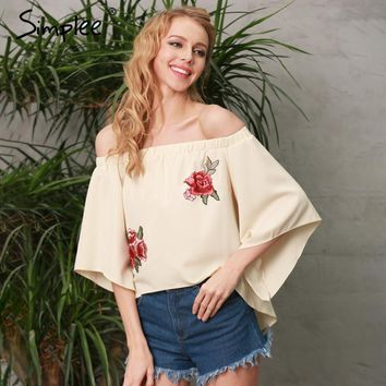 Simplee Floral embroidery backless blouse Women Sexy off shoulder cool blouse shirt Autumn casual flare sleeve loose blusas top