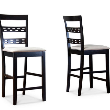 Baxton Studio Seville Counter Stool Set of 2 (Beige/Dark Brown)