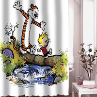 calvin and hobbes shower curtain adorabel batheroom hane made