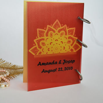 Wedding Guest Book Modern design Transparent organic glass, Personalized with names Indian wedding
