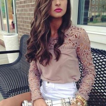 Solid Color Hollow Lace Stitching Round Neck Long Sleeve T-shirt Women Tops