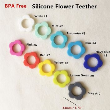 Chenkai 10pcs BPA Free Silicone Flower Pendant Teether Beads DIY Handmade Baby Pacifier Dummy Teething Toy Accessories