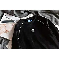 Adidas New fashion bust embroidery letter leaf keep warm couple long sleeve top sweater Black