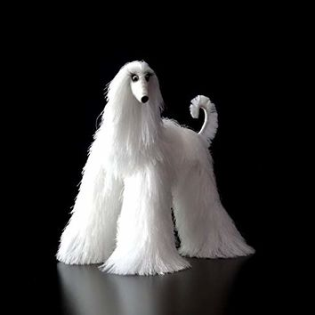 White Afghan Hound Collectible Poseable Miniature Cute Plush Art Doll Needle Felted Dog