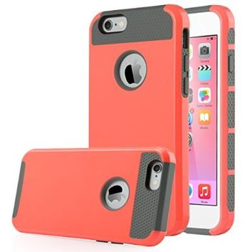 iPhone 6 Case, ULAK 2 in 1 Shield Hybrid Case for iPhone 6 4.7 inch Hybrid Dual Layer Hard Case for iPhone 6 4.7 inch TPU + PC Soft Hard Cover (2 in 1 Shield-Water Red)