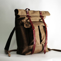 The Camper Satchel in Tan Waxed Canvas by sketchbook on Etsy