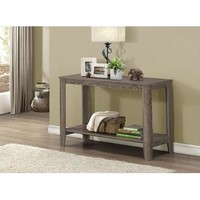 Monarch Specialties Dark Taupe Reclaimed-Look Sofa Console Table I 7915S