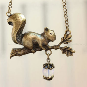 Squirrel necklace, squirrel on a branch charm necklace, retro bronze squirrel pendant. Gemstone acorn necklace
