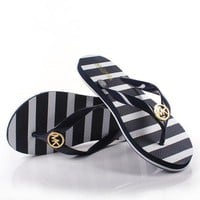 DCK7YE MICHAEL KORS Women Simple Stripe Print Slippers Sandals Shoes