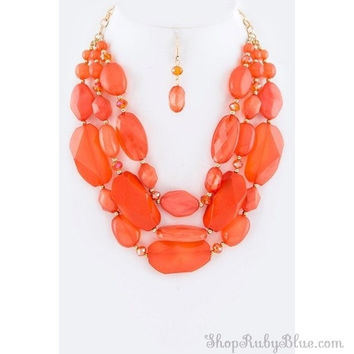Peachy Keen statement necklace set