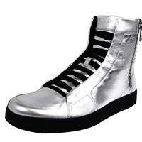 Gucci Men's Silver Leather Limited Edition High-top Sneakers 376191 8163