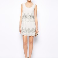 Frock and Frill Double Tiered Dress with Sequin Embellishment - Cream/