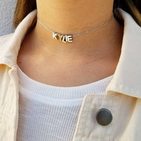 Capital Letter Choker - 16k white gold plated
