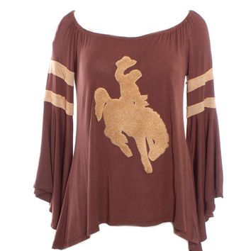 Judith March Vintage Embroidered Cowboy Tee with Flounce Sleeve