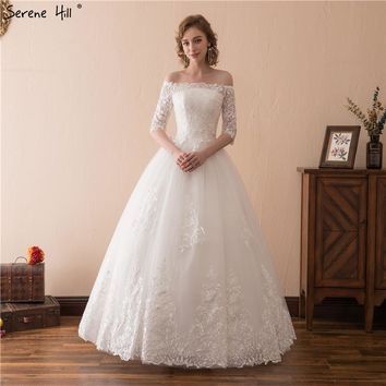 White Boat Neck Half Sleeves Wedding Dresses 2018 Real Photo Fashion Simple Sexy Lace Bridal Gown Vestido De Noiva