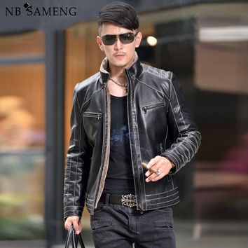 warm motorcycle business casualMens leather jackets coats fur collar men sheepskin composite leather jacket