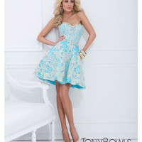 (PRE-ORDER) Tony Bowls 2014 Prom Dresses - Turquoise & Gold Lace Filigree Strapless Short Prom Dress