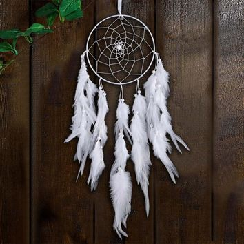White Feather Dream Catcher Net Handmade Wall Hanging Dreamcatcher Decoration Car Home Ornaments Craft Gifts