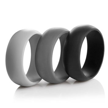 Men's Silicone Wedding Ring Bands - 3 Ring Pack - Black Dark Grey Light Grey