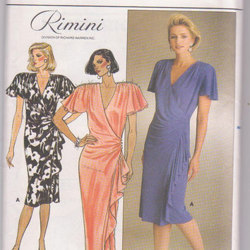 Vintage 1980s pattern Rimini special occasion wrap dress knee or floor length butterfly sleeves misses size 12 14 16 Butterick 3383 UNCUT