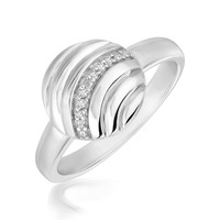 Sterling Silver Round Wave Motif Diamond Embellished Rhodium Plated Ring: Size 7