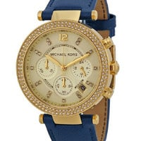 Michael Kors Women's Parker Blue Leather Wrist Watch  MK2280