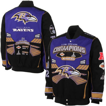 Baltimore Ravens Commemorative Twill Full Zip Jacket – Black