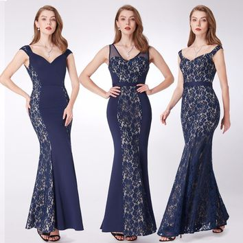 New Evening Dresses Ever Pretty EP07277 Mermaid Lace Sleeveless V-neck Party Long Dress Navy Blue Formal Dresses robe de soiree