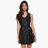 Black Sequined V-neck and Back Dress