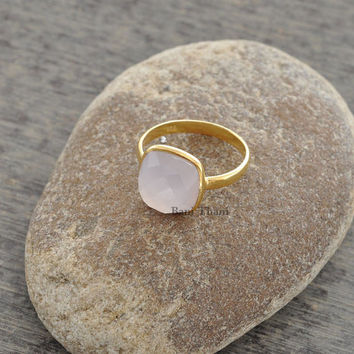 Pink Chalcedony Cushion 10mm Faceted Micron Gold Plated 925 Sterling Silver Ring - #1140