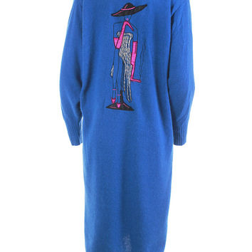Angora Duster Sweater with Smoking Lady Made in Italy 1980's Vintage Women's Size Large / Electric Blue & Pink Soft Pullover Batwing Jumpers