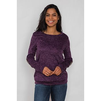 Just Enough Sequin Elbow Patch Sweater - Grape