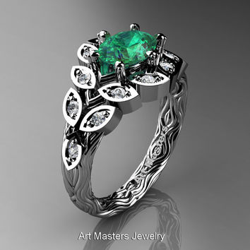 Art Masters Nature Inspired 14K White Gold 1.0 Ct Oval Emerald Diamond Leaf and Vine Solitaire Ring R267-14KWGDEM