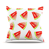 "Sreetama Ray ""Summer Fun"" Watermelon Outdoor Throw Pillow"