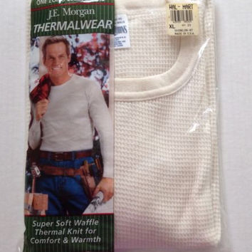 J E Morgan Thermal Underwear Shirt Mens XL 46 48 Long Johns Waffle Made in USA