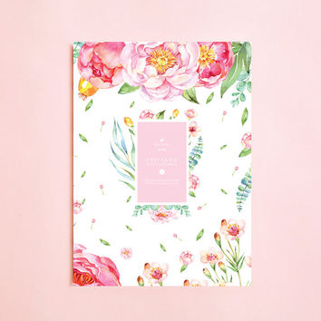 WATERCOLOR FLOWER Lined NOTEBOOK | Writing Journal-Notebook For Writers Gift-Daily Planner-Large Notebook-The Notebook-Back To School-Boho